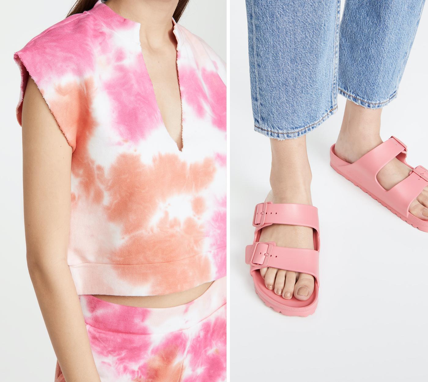 tie dye sweatshirt, birkenstock arizona pink sandals under 50
