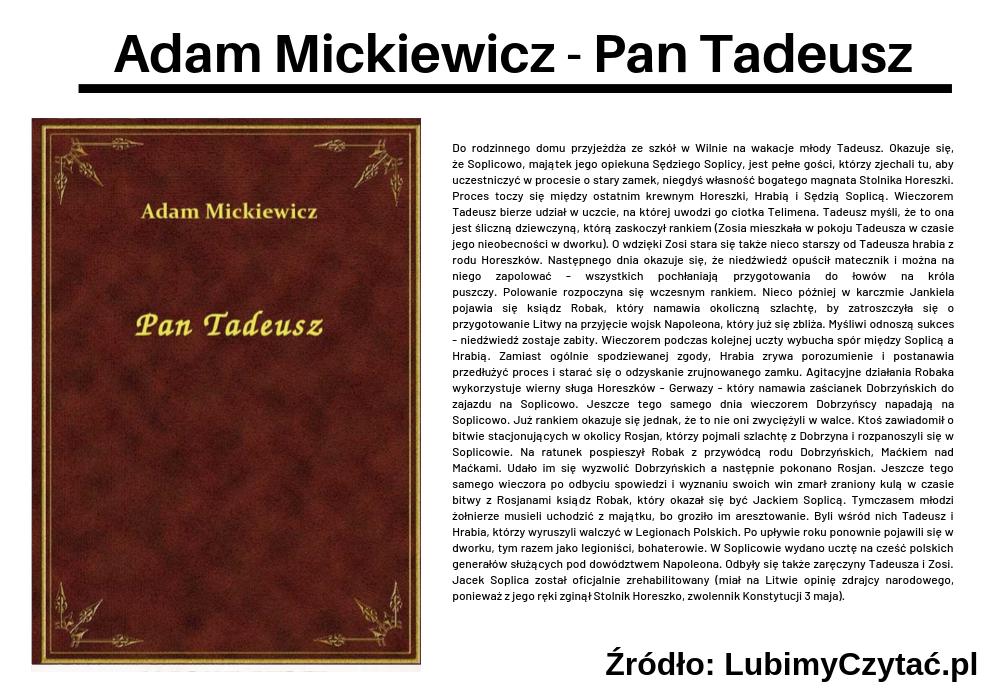 Adam Mickiewicz - Pan Tadeusz, Topki, Marzenie Literackie