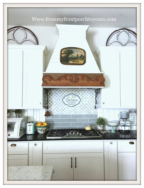 Farmhouse Cottage Kitchen-DIYRange Hood-Shiplap-DIY Subway Tile Backsplash-From My Front Porch To Yours
