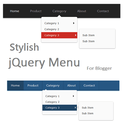 Stylish jQuery menu for blogger with highlighter