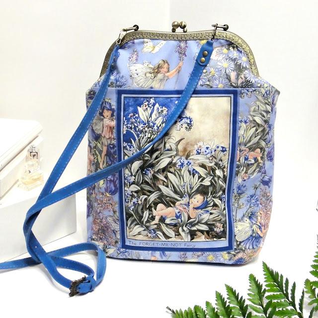 Женская сумка через плечо Цветочные феи. Незабудка - подарок молодой маме. Синяя сумка для города голубая