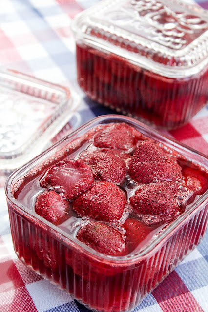 Slow Roasted Strawberries, fresh strawberries sprinkled lightly with sugar, baked slowly until the strawberries release their juices and slightly caramelize.  These strawberries go brilliantly in all kinds of desserts.