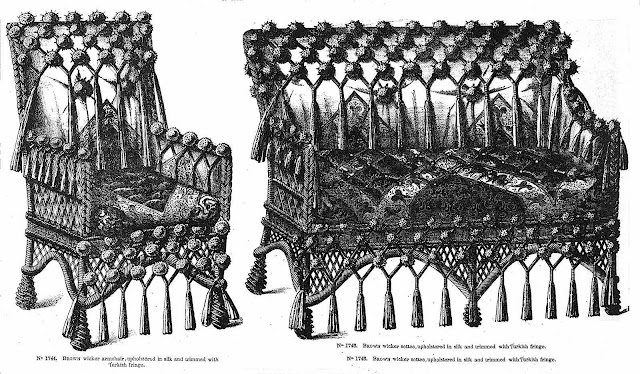 1885 furniture with wicker silk and Turkish fringe, illustrated