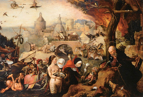 The Temptation of Saint Anthony by Pieter Huys, Macabre Paintings, Horror Paintings, Freak Art, Freak Paintings, Horror Picture, Terror Pictures