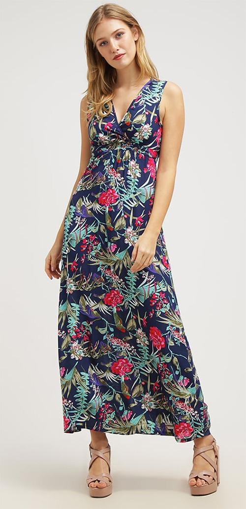 Robe longue d'été bleue à fleurs Smash