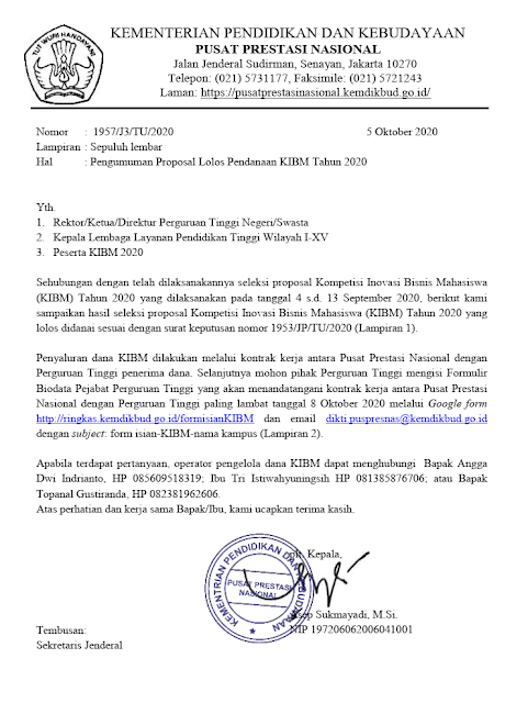 Hasil Seleksi Proposal Lolos Pendanaan KIBM Tahun 2020 PDF tomatalikuang.com
