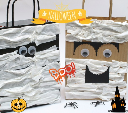 Bolsas de papel para Halloween - Paper bag Monster