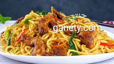 طريقة عمل النودلز الصيني بالدجاج والخضار
