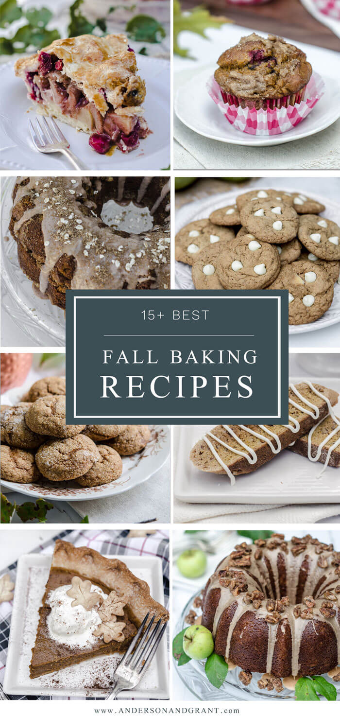 15+ Best Fall Baking Recipes - Cookies, Pies, Cakes and more using pumpkin, apples, nuts, and spices.