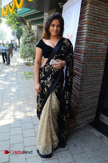 Actress Neetu Chandra Stills in Black Saree at Designer Sandhya Singh's Store Launch  0046.jpg