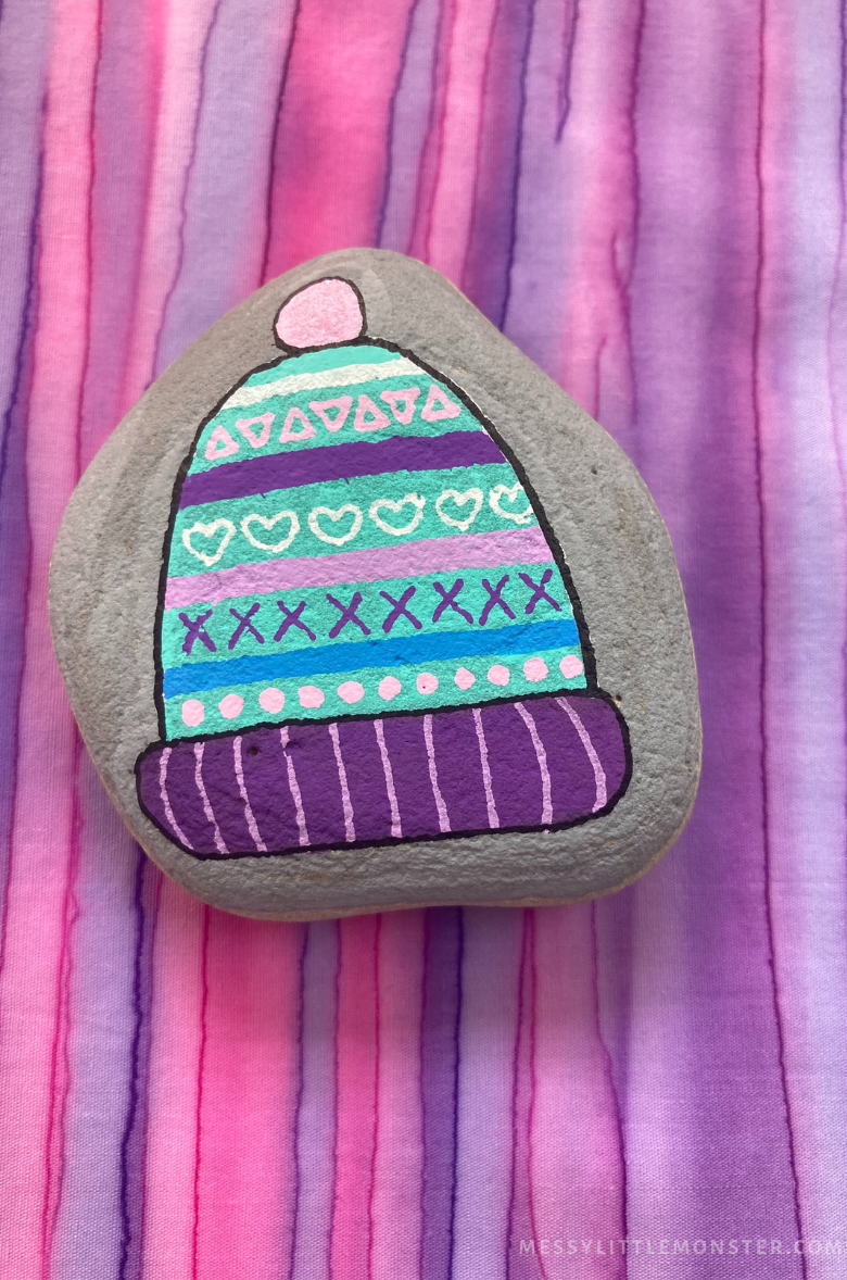 rock painting winter craft