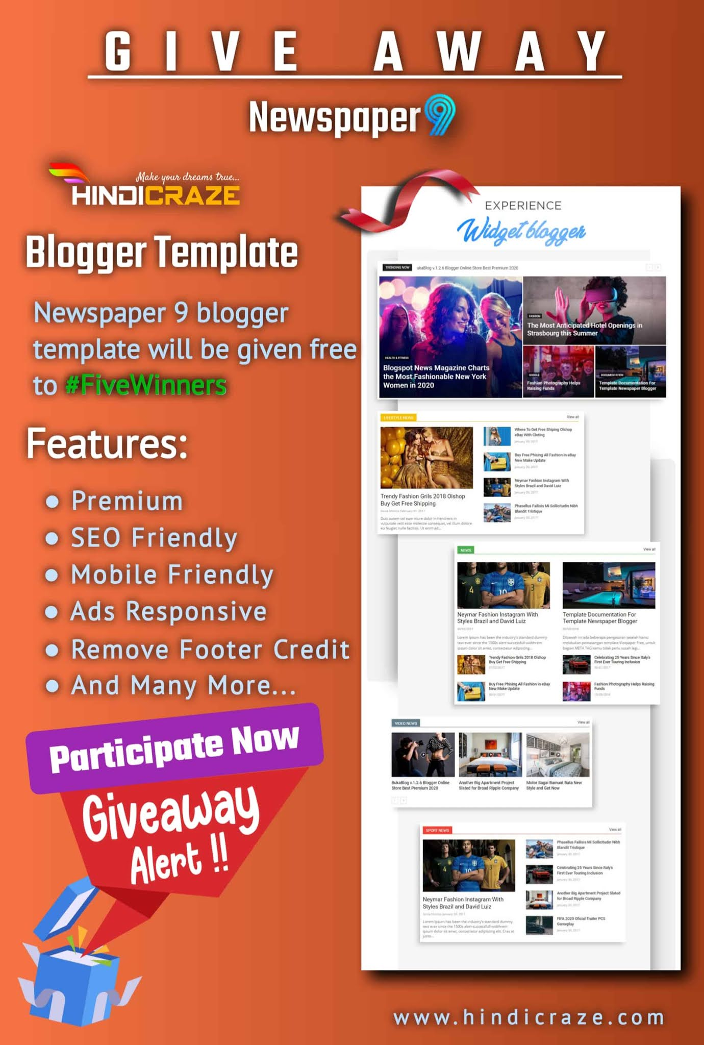 Newspaper 9 blogger template giveaway