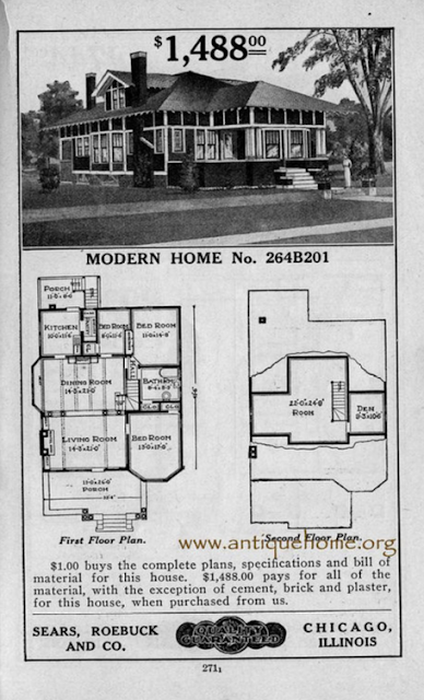 catalog image from the 1917 Sears Modern Homes catalog-- Sears No. 201, later called the Hawthorne