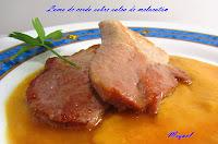 Lomo de cerdo sobre salsa de Melocotón