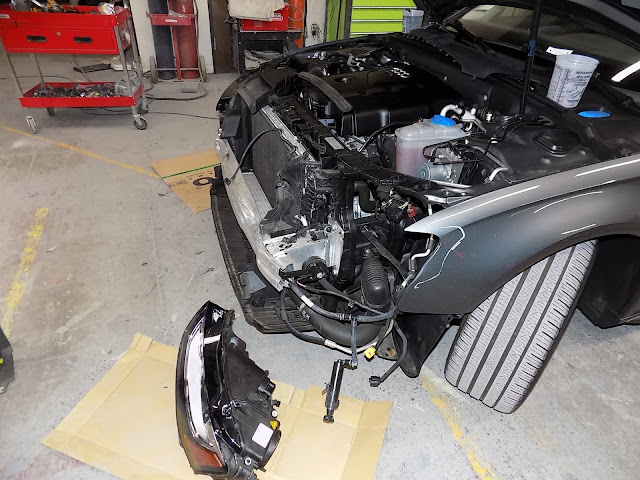 2016 Audi A4 after collision and disassembly at Almost Everything Auto Body.