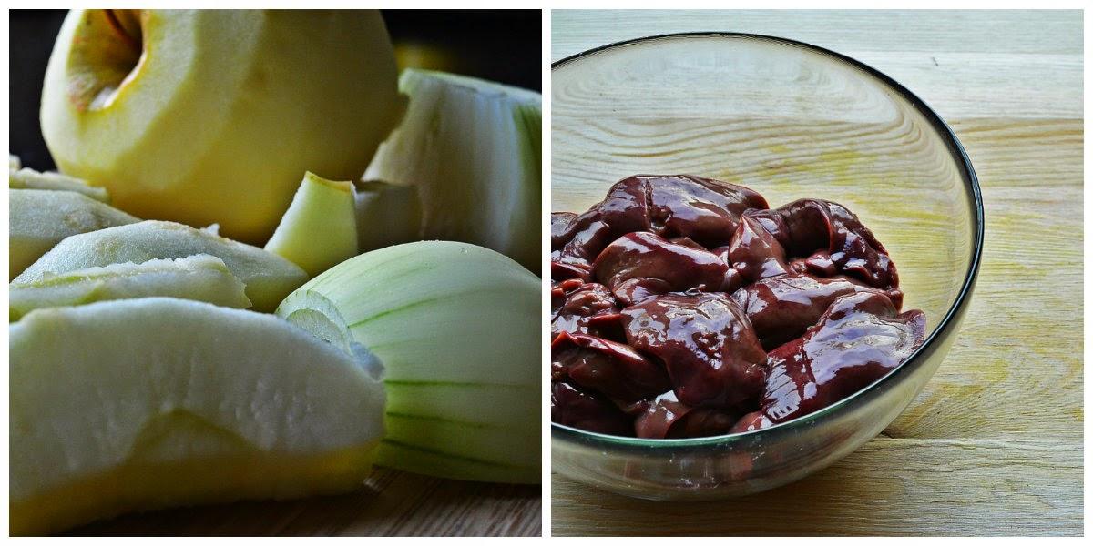 Pieczona wątróbka z jabłkiem i cebulą