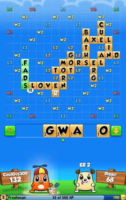 Screenshot of a Word Chums game
