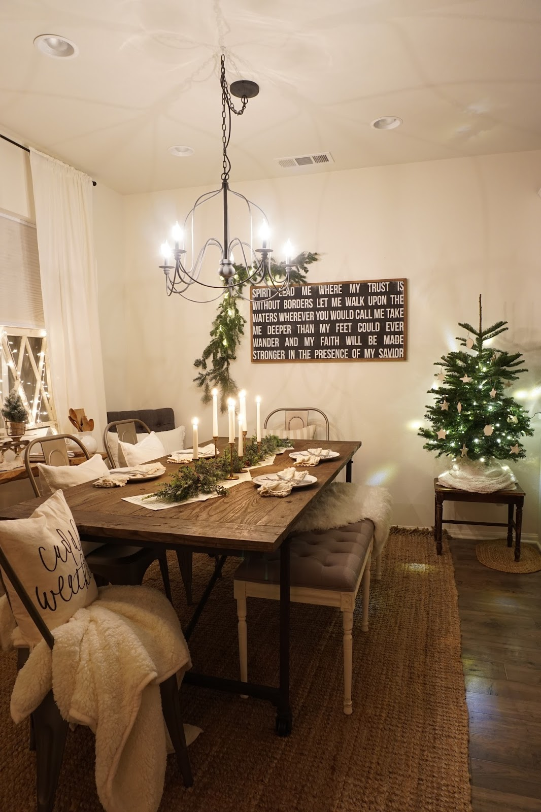 night time christmas dining room tour mrs rollman blog for christmas i just turned on the chandelier and added in christmas lights and candles for a magical feel