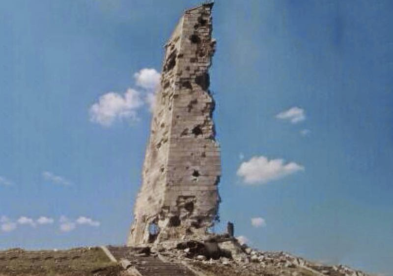 Monument to Soviet soldiers on Saur-Mohyla hill have been suffered by artillery in the result of heavy fighting