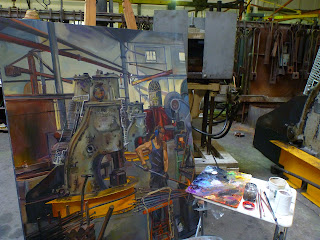 Oil painting of blacksmith forging in the Australian Technology Park, Eveleigh Railway Workshops by industrial heritage artist Jane Bennett