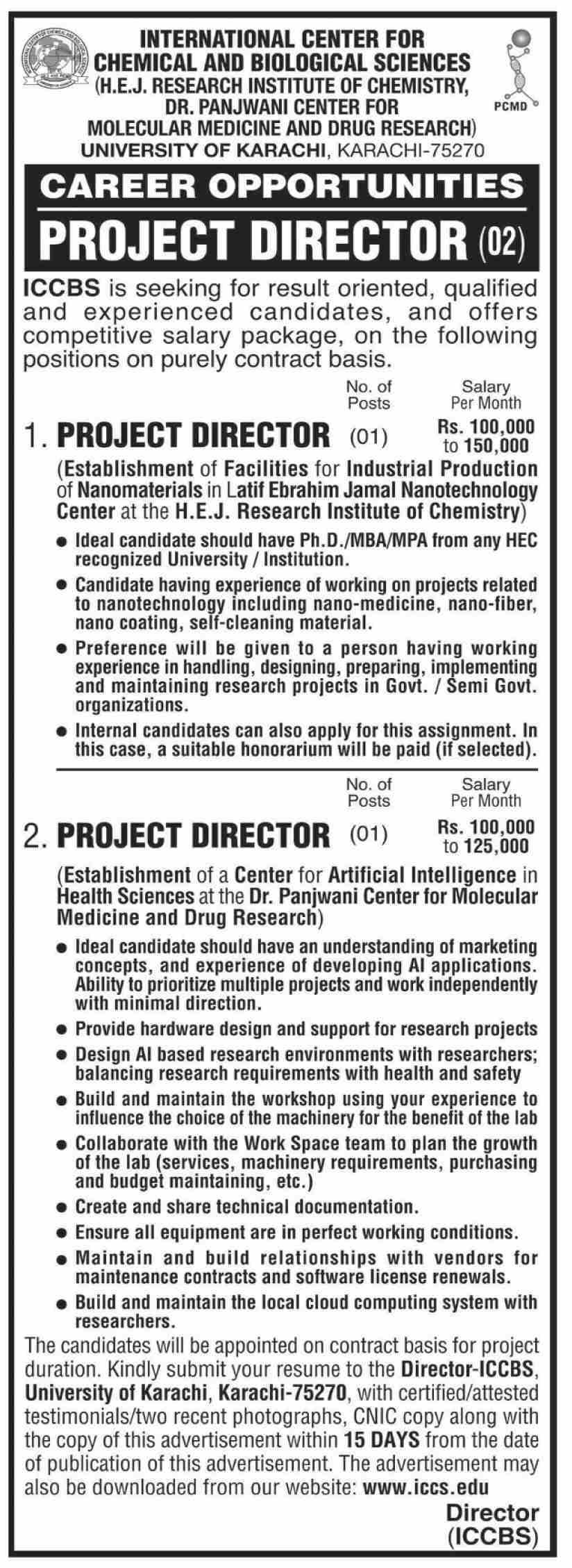International Center For Chemical And Biological Sciences University Jobs in Pakistan Jobs 2021 - Download Application Form - www.iccs.edu