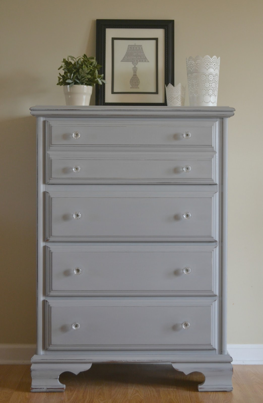 Unique Funky Junk: Paris Gray Chest of Drawers RG51