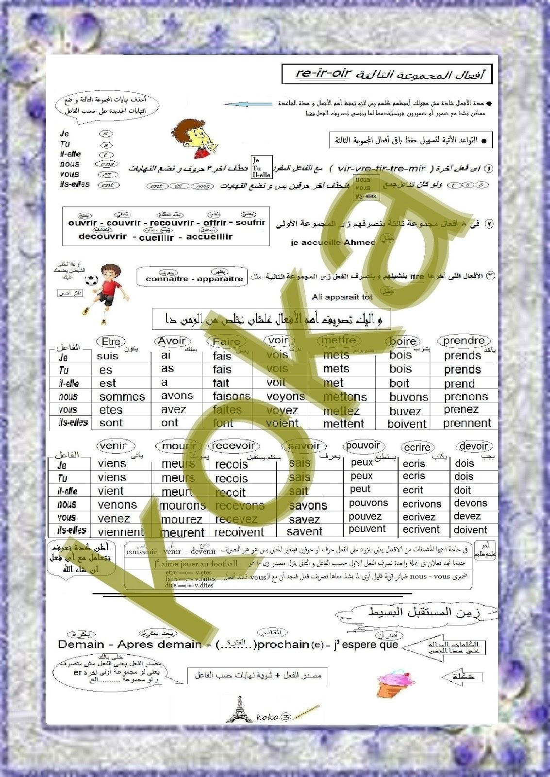 كل قواعد اللغة الفرنسية للصف الثالث الثانوى فى 10 ورقات ممتعة جدا