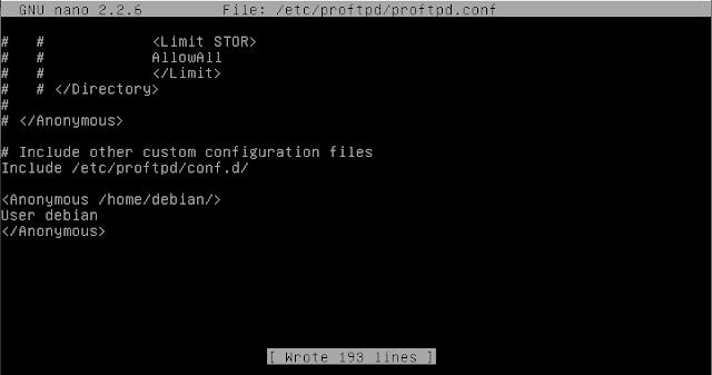 configuration proftpd.conf di debian