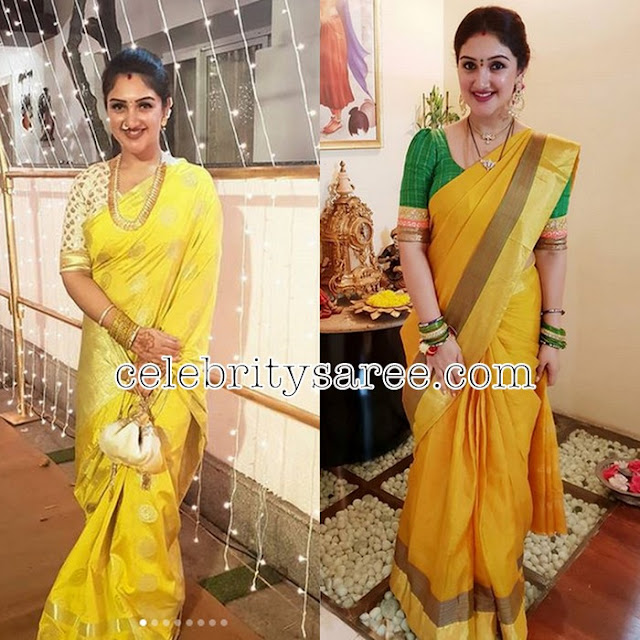 Sridevi Vijaykumar Light Yellow Silk Saree