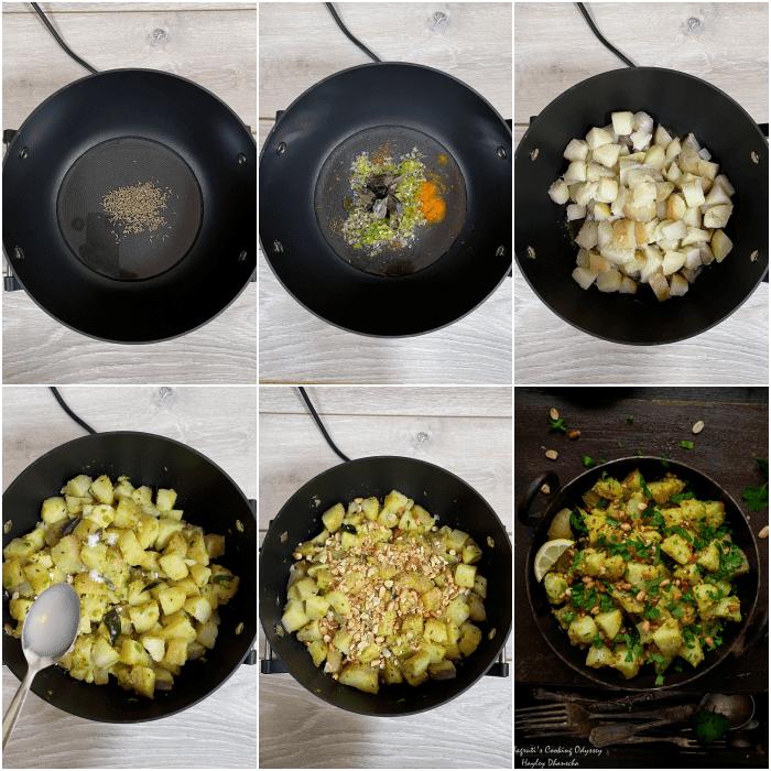 A collage of how to make vrat wale moongphali aur aloo ki sabji step by step pictures