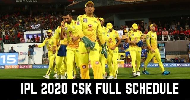 IPL 2020: Chennai Super Kings (CSK) Full Schedule