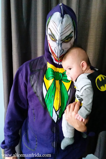 father and son, dad, baby, boy, Batman, cape, Halloween, costume, the Joker, sweatshirt, easy costume
