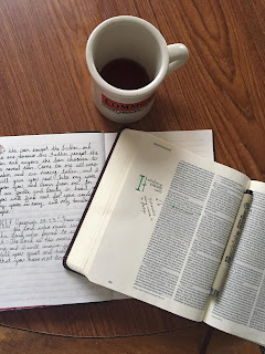 Bible, journaling, coffee