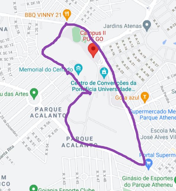 Mapa do Campus II da PUC-GO