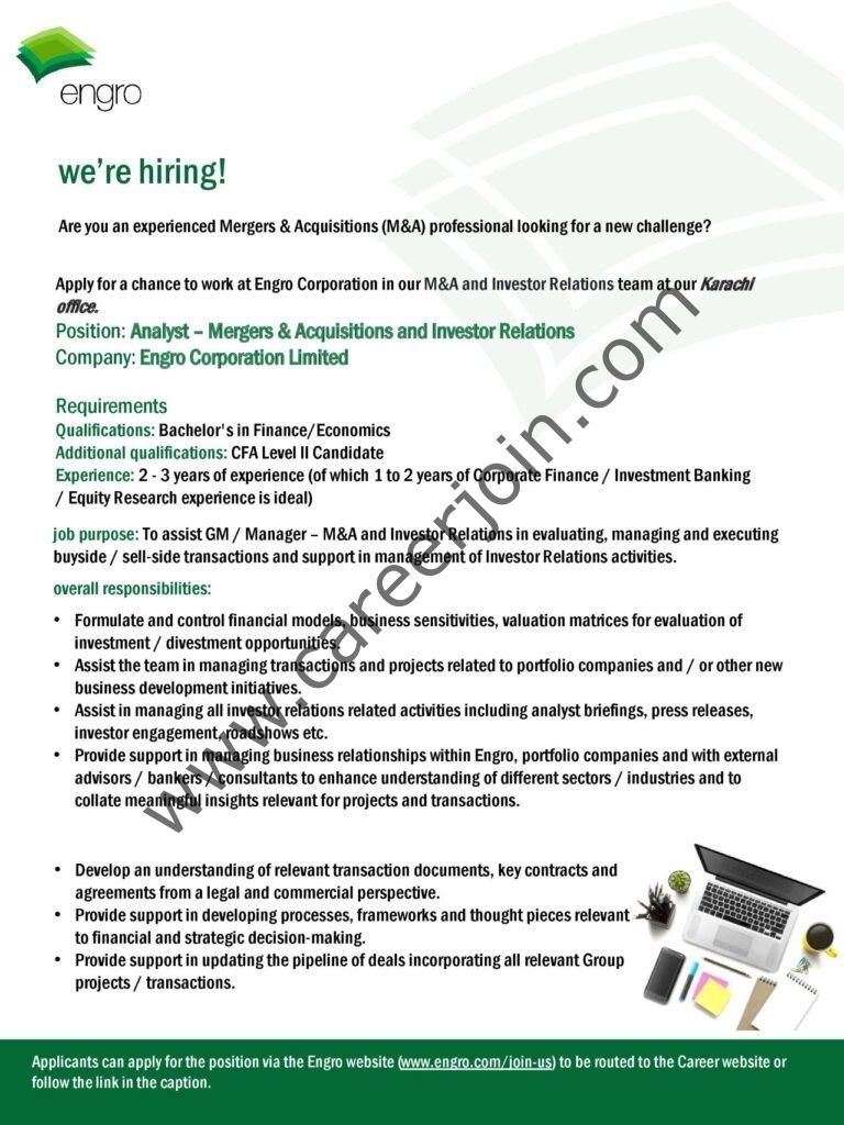 www.engro.com Jobs 2021 - Engro Corporation Ltd Jobs 2021 in Pakistan