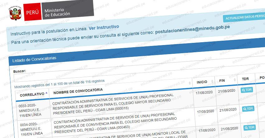 MINEDU: Convocatoria CAS AGOSTO 2020 - Más de 100 Puestos de Trabajo en el Ministerio de Educación [INSCRIPCIÓN DE POSTULANTES HASTA EL 21 DE AGOSTO] www.minedu.gob.pe