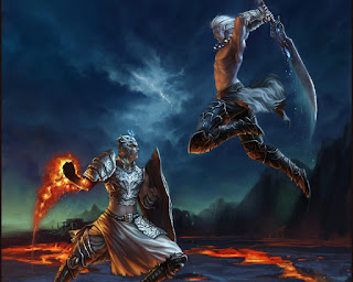 Two warriors, a human in armour casting a fireball spell and an elf wearing only trousers wielding a large sword, fighting against one another on a bleak landscape with streams of lava flowing by. It is implied that these are the characters of two players letting player conflict spill over into the game.