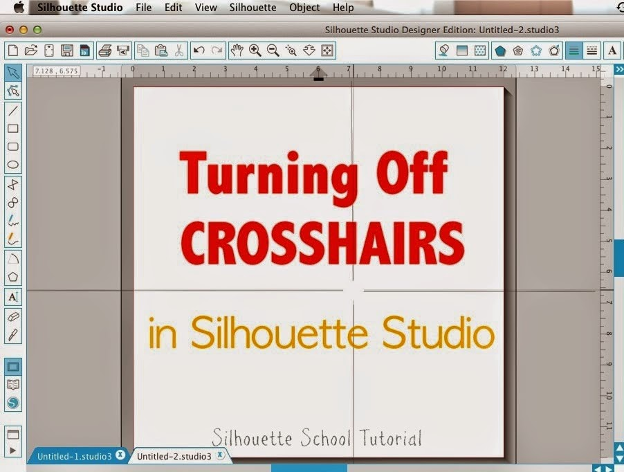 Silhouette Studio, turn off, crosshairs, Silhouette tutorial, troubleshooting