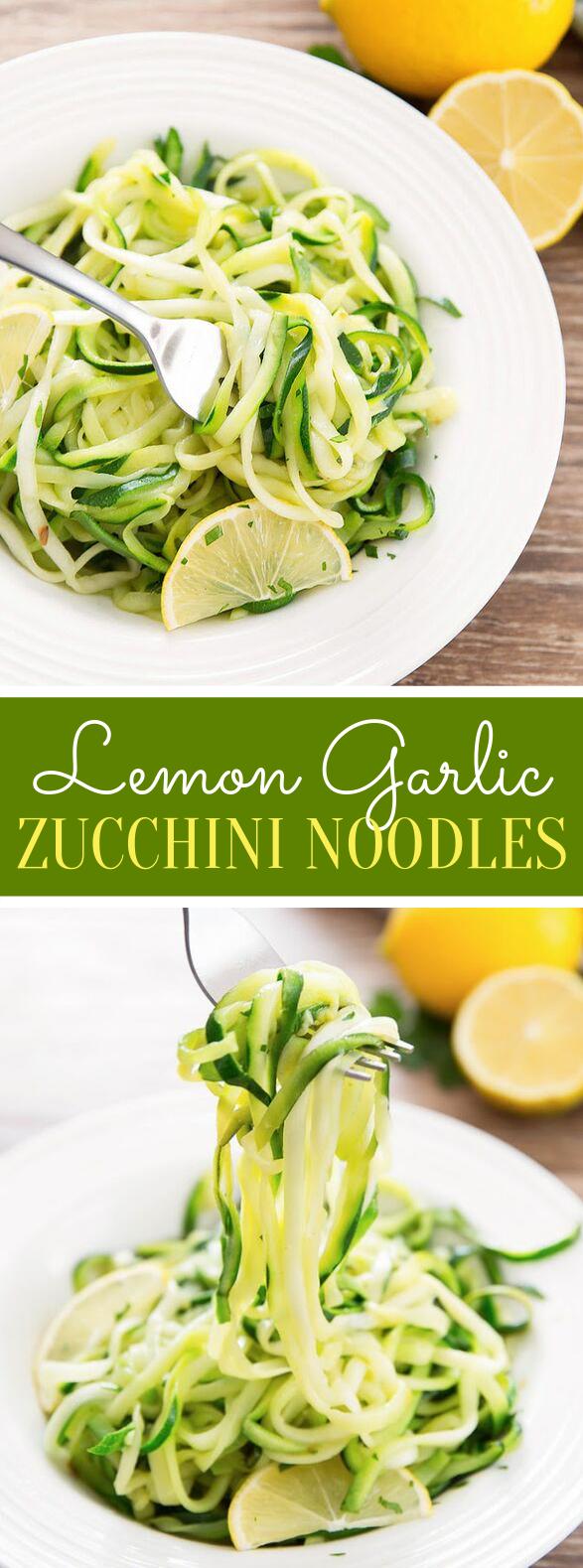 LEMON GARLIC ZUCCHINI NOODLES #vegetarian #veggies