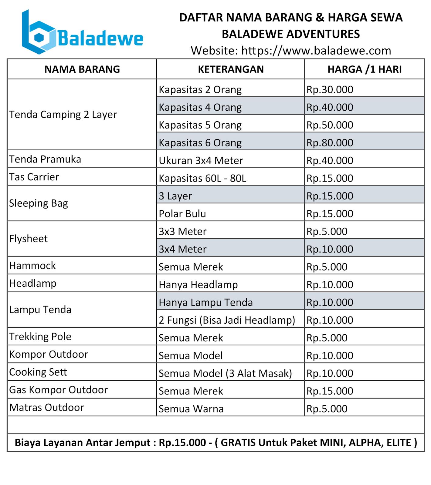Daftar Harga Sewa Baladewe Adventures Baladewe Adventure