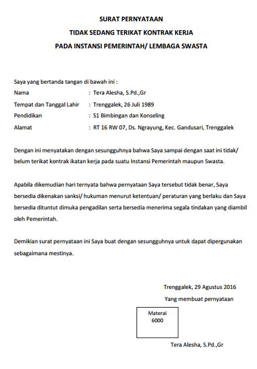 Surat Pernyataan Tidak Sedang Terikat Kontrak Kerja Word