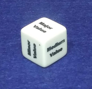 A white cube with the sides marked 'minor value,' 'medium value,' and 'major value.'