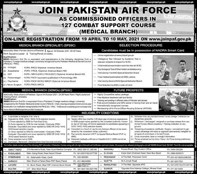 Join Pakistan Air Force PAF As Commissioned Officers 127 Combat Support Course Medical Branch 2021