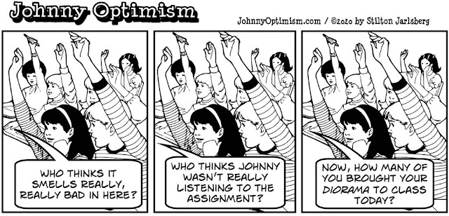 johnny optimism, medical, humor, sick, jokes, boy, wheelchair, doctors, hospital, stilton jarlsberg, smells, school, class, diorama, diarrhea