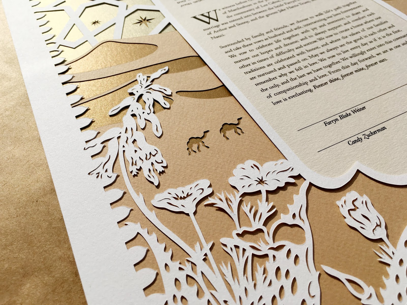 Golds & Browns reflect the sun hitting the sandy papercut ketubah