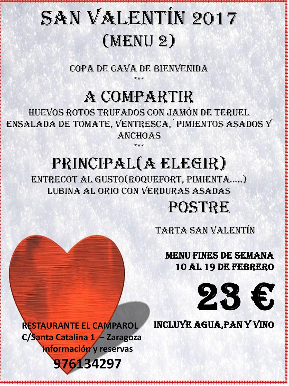 restaurante el camparol zaragoza menu san valentin