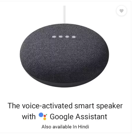 Google Nest Mini 2nd Gen Charcoal Product Price in india, Specifications full Features