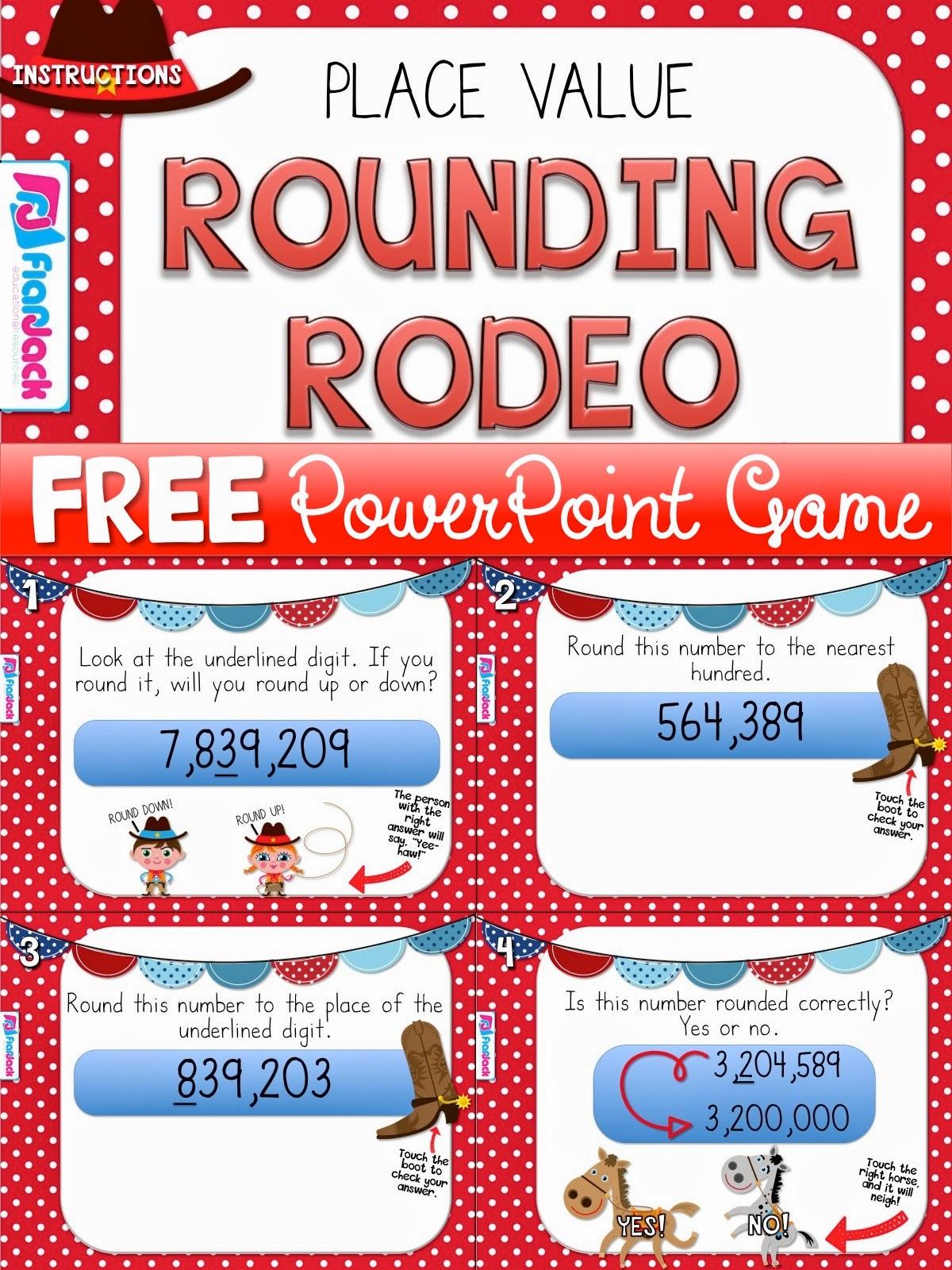 Classroom Freebies Rounding Rodeo Powerpoint Game Freebie