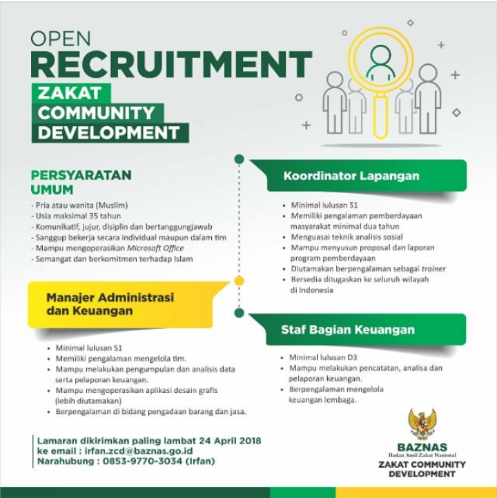 Open Recruitment Lowongan Kerja Badan Amil Zakat Nasional (Baznas) Pendaftaran Dibuka Hingga 24 April 2018 Secara Online