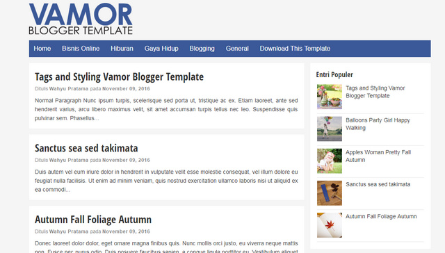 Vamor Responsive Blogger Templates